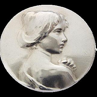 Art Nouveau Victorian Silver Pin Brooch Woman Lady Profile Portrait c. 1900
