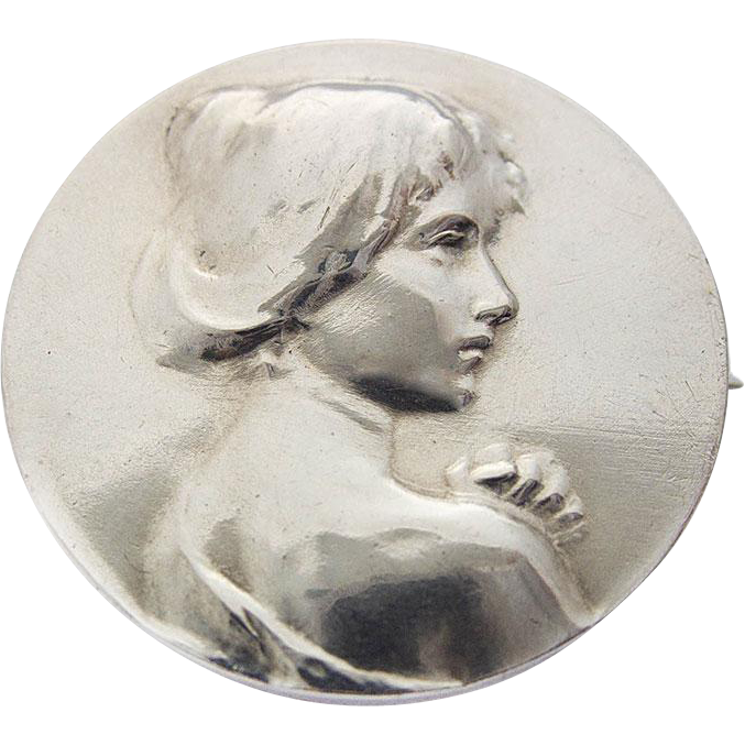 Art Nouveau Victorian Silver Pin Brooch Woman Lady Profile Portrait c. 1900