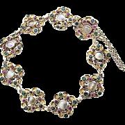 Art Nouveau Silver gilt Bracelet Chrysopras Garnet mother of pearl