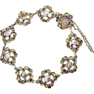 Art Nouveau Silver gilt Bracelet Chrysopras Garnet mother of pearl