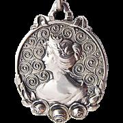 Lauer und Wiedmann Art Nouveau Silver Pendant Profile Lady Jugendstil