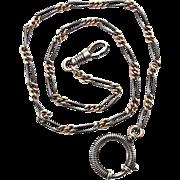 Victorian Art Nouveau silver necklace Tula Niello 900 watch chain Deco 1900 - 1920s