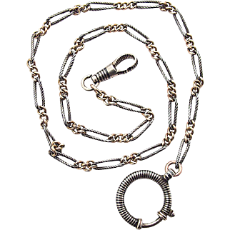 Victorian Art Nouveau silver necklace Tula Niello 900 watch chain Deco 1900 - 1920s