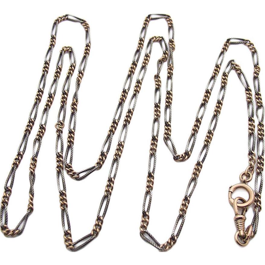 Victorian Art Nouveau silver necklace Tula Niello 900 watch chain muff chain Deco 1900 - 1920s