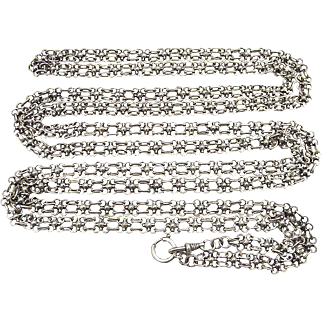 "Rare long Art Nouveau Silver Necklace Muff Chain Length: 62 "" (1,58 m) c. 1900"
