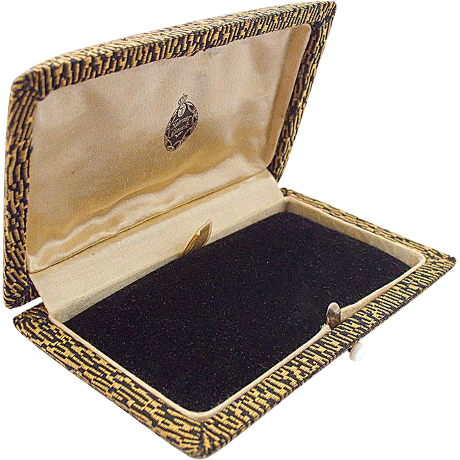 Original Theodor Fahrner Jewel case covered with fabric in black and yellow
