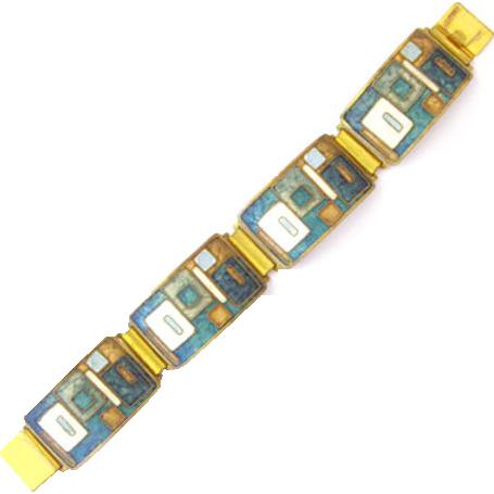 70s Enamel Modernist Bracelet Metal gilt geometric forms