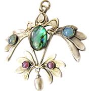 Art Nouveau Gablonz paste pendant from c. 1900 green blue purple paste