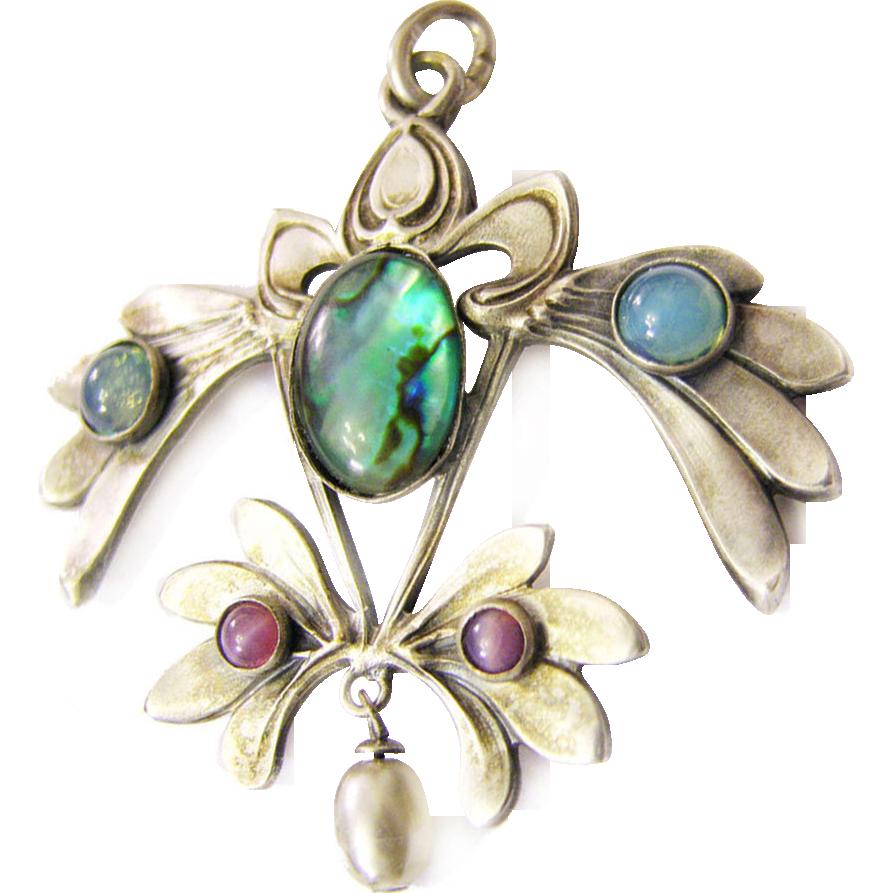 Art Nouveau Gablonz paste pendant from c. 1900 green blue purple paste