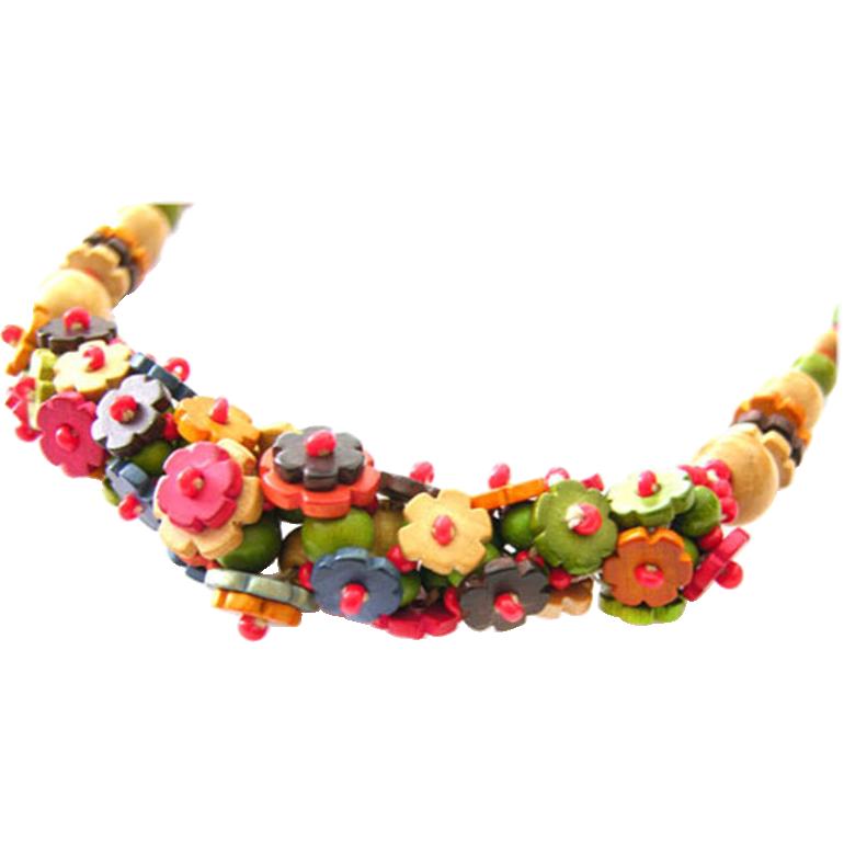 Gablonz wood necklace Flower multi color painted c 1930 to 1950