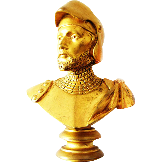 Art Nouveau Signet Seal Knight Bust signed Luca Madrassi Bronze gilt