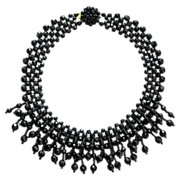 Black Glass Collar Necklace from the 60s Box Clasp