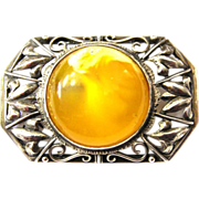 Art Deco Butterscotch Amber Silver Brooch 30s