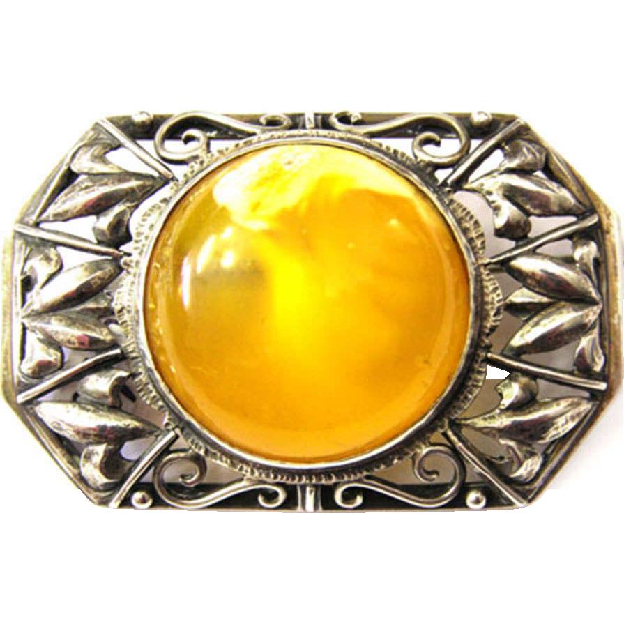 Art Deco Butterscotch Amber Silver Brooch 30s