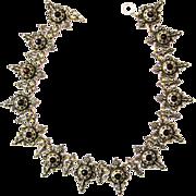 Antique Victorian Historism Necklace Collar Garnet Paste Enamel metal silver plated c. 1870