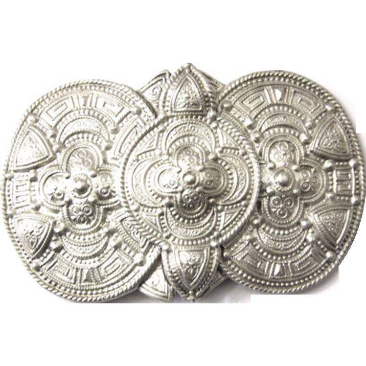 Art Nouveau silver belt buckle celtic viking rare