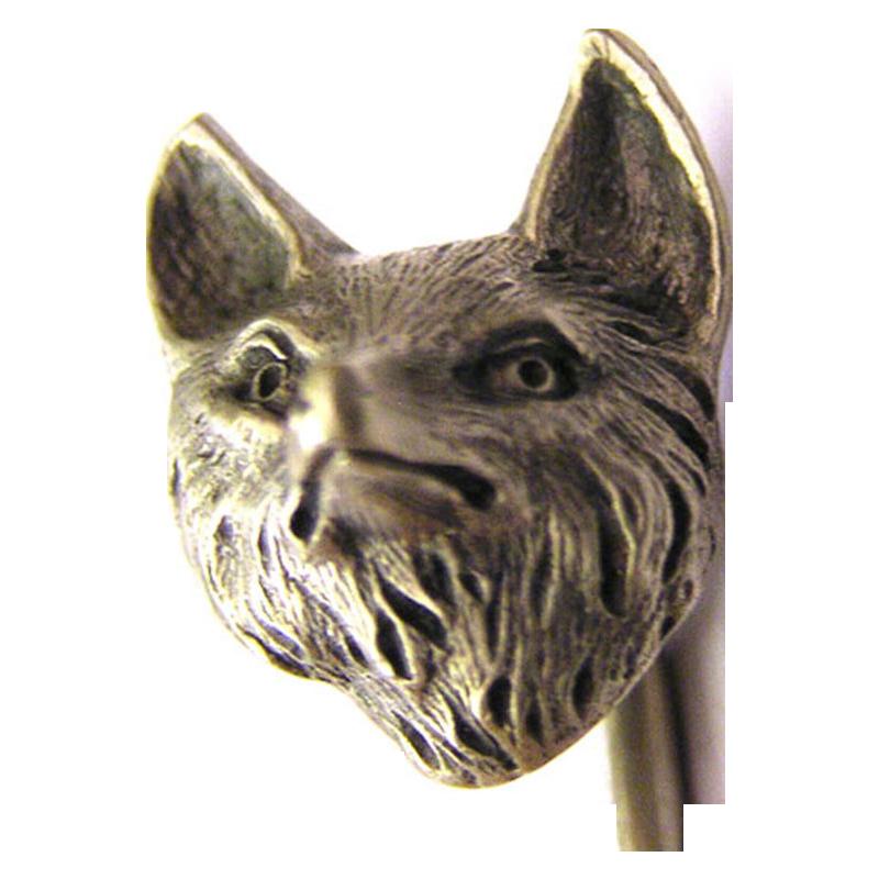 antique Art nouveau silver fox Cravat or Tie Pin, or Hat Pin  signed c. 1900