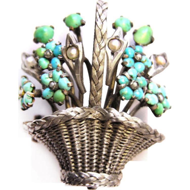 Magnificent rare antique Victorian Biedermeier Silver Brooch Turquoise sweet water pearls c. 1860 Vienna Austria
