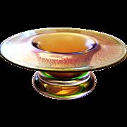 little Glass Bowl gold green colored iridescent by Eisch, Bavarian Wood