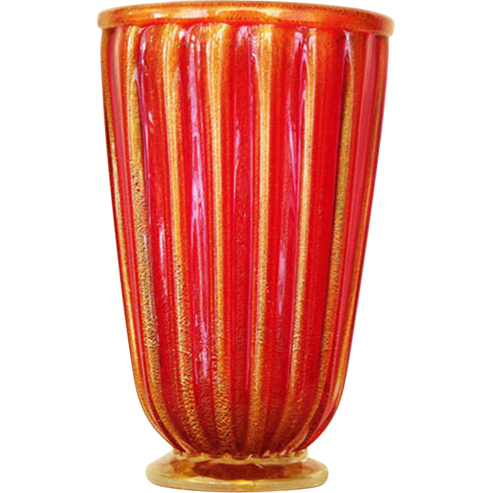 Gorgeous  red ribbed Murano Vase signed by  Alberto Donà c. 80s