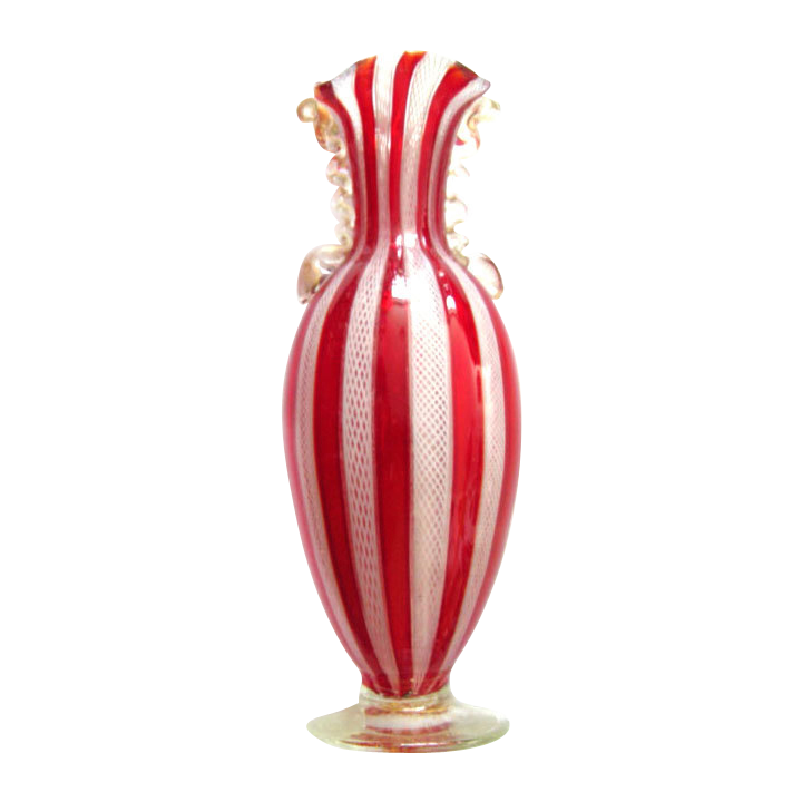 Murano Zanfirico Glass Vase white red gold powder Venini