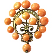 Beautiful Antique Victorian Coral Brooch sweet water Seed pearl c. 1850 - 1860