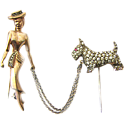 rare Silver Paste Tie Pin Brooch Lady with Dog