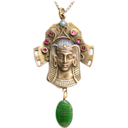 Egyptian revival Pharaoh pendant Tut ankh amun  Gablonz c. 1920s probably Neiger Brothers