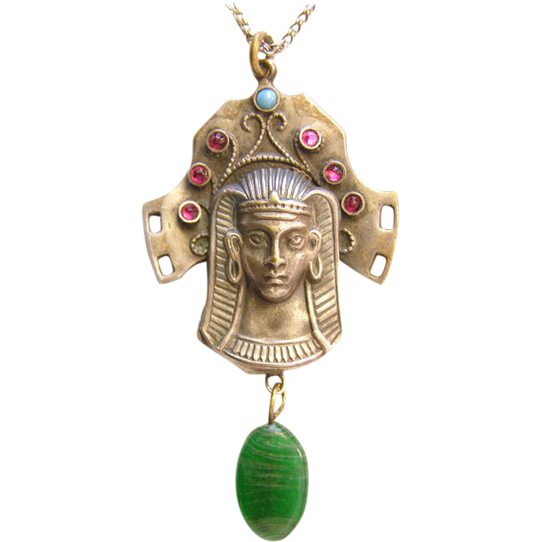 Egyptian revival Pharaoh pendant Tut ankh amun  Gablonz c. 1920s probably Neiger Brothers
