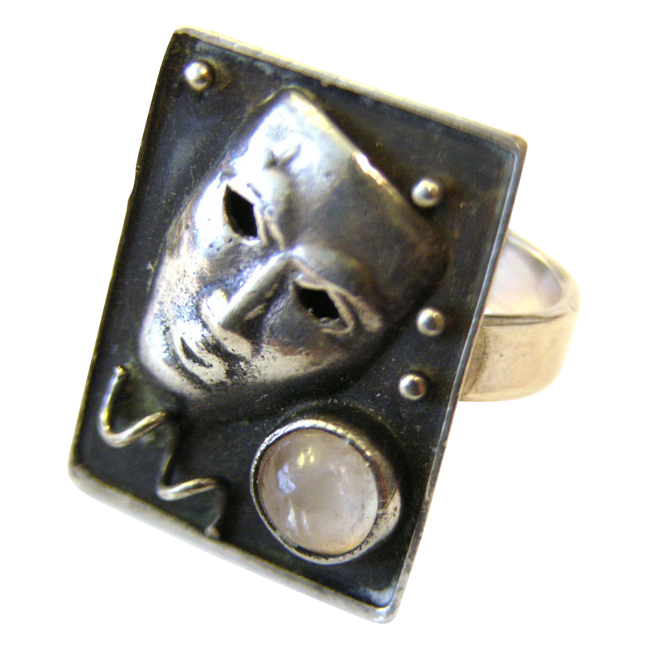Art Deco Silver Ring Mask Face signed Georg Kramer Ribnitz-Damgarten