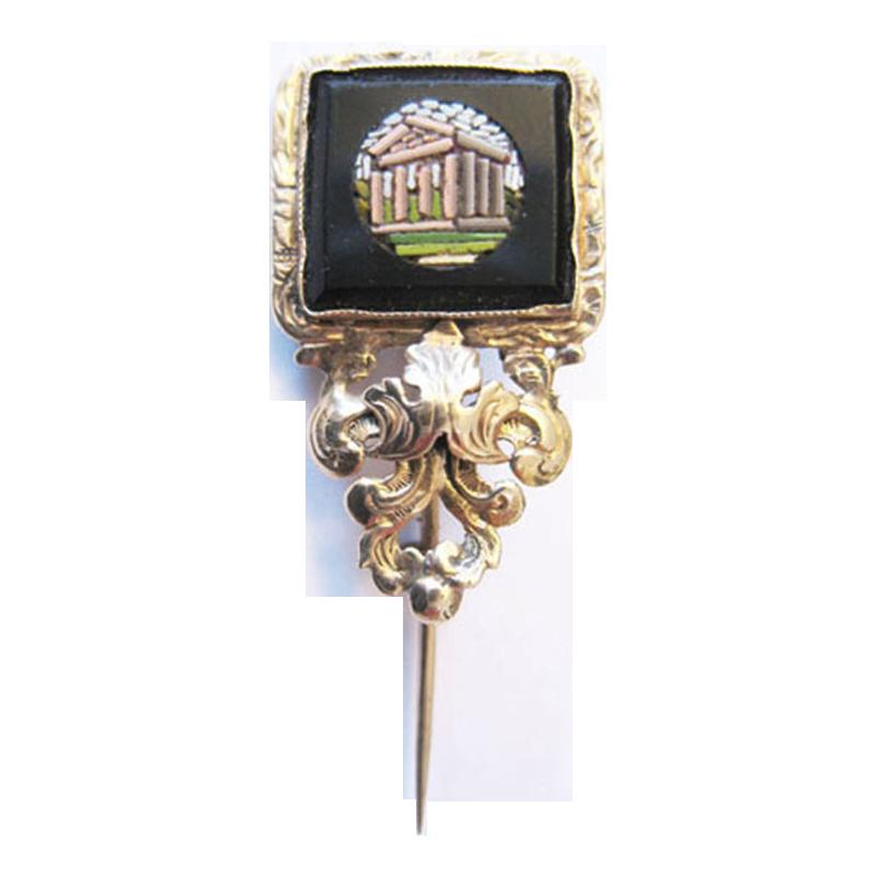 Gold shawl pin tie pin micromosaic Millefiori
