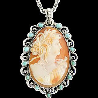 Victorian Cameo Turquoise Silver Pendant Art Nouveau c.1900 shell