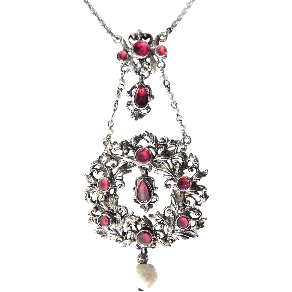 Silver Necklace Pendant garnet by Jakob Agner, Munich pearl c. 1900 Handwork