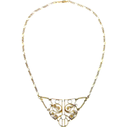 Antique Art Nouveau Sterling Silver Necklace Gilt with Pearl c. 1900