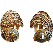 Vintage German Theodor Fahrner sterling silver vermeil ear clips earrings marcasite30s
