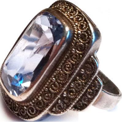 Vintage German Theodor Fahrner sterling silver ring blue spinel 30s