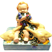 Art Nouveau ceramic figure Putto flowers ducks Fachschule Keramik Bechyn e ceramic pottery