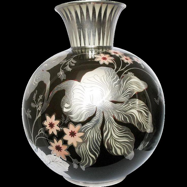 Vintage Silver Overlay Rosenthal Porcelain Vase 1000 / 1000 dark brown Flower 1936