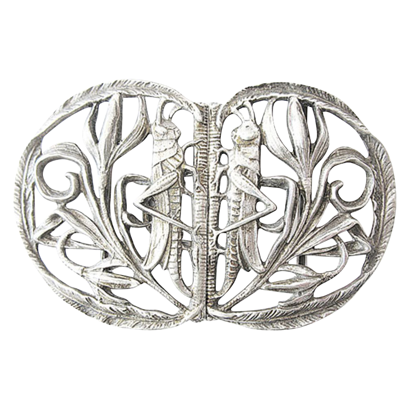 Art Nouveau Silver Belt Buckle from 1900 marked 800 Moon Crown belt buckle silver