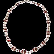 Art Deco Necklace Carnelian Mountain Crystal  30s cut