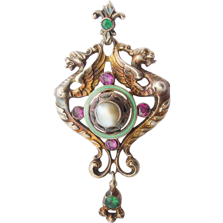 Historism Neo Renaissance Silver Pendant Chimera Dragon Enamel Vermeil Gilt Amethyst Green Agate Mother Of Pearl
