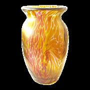 Iridescent Designer Art Glass Vase signed Franz Austen yellow pink