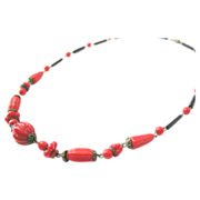Bohemian Art Deco paste necklace red black glass 30s fashion jewelry