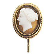 Cravat or Tie Pin, or Hat Pin Gold agate cameo Lady rare c. 1860