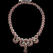 Antique Victorian Garnet Necklace Tombak Flat Cut c.1900