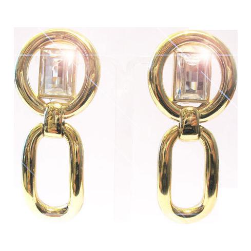 Christian Dior ear clips earrings gilt paste stones 80s