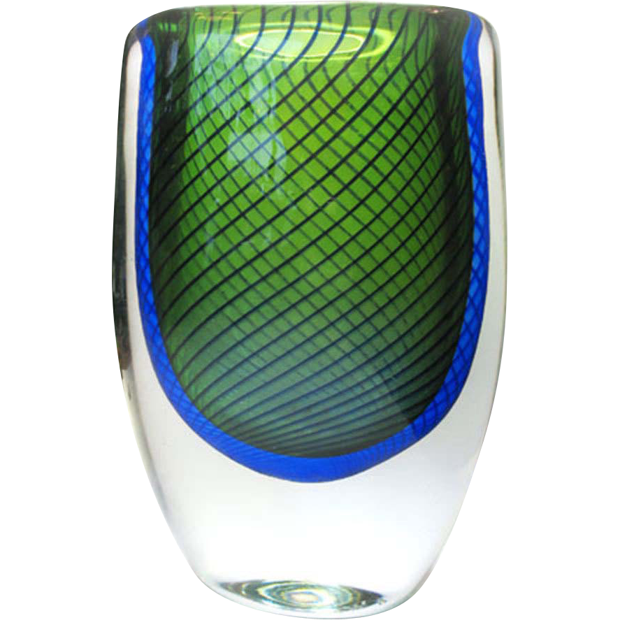 Kosta boda glass vase signed vicke lindstrand 50s studio for Deco pour vase transparent
