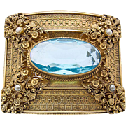 Art Nouveau belt buckle Turiet & Bardach metal gilt blue synthetic stone