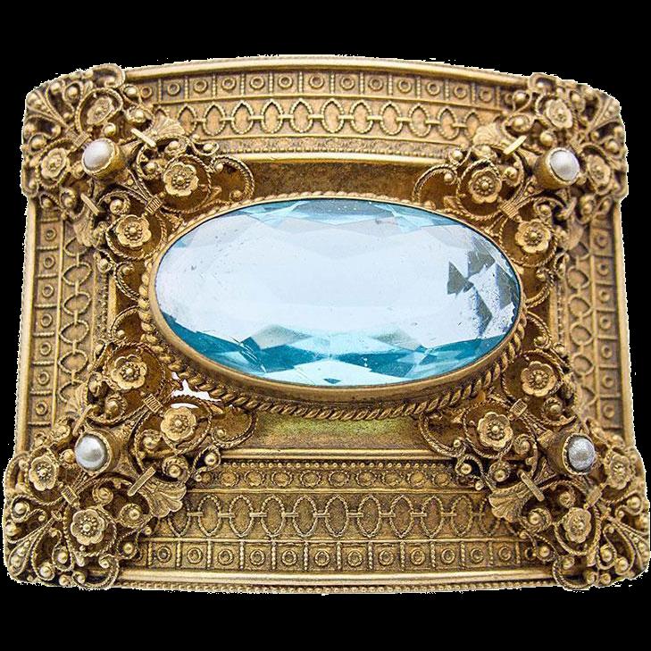 Art Nouveau belt buckle Turiet & Bardach metal gilt blue synthetic stone