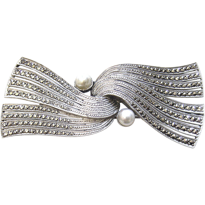 Art Deco 925 Sterling Silver Pearl tie Brooch Theodore Fahrner